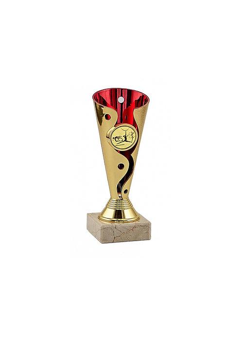 КУбок 037 красный с золотым, 15 см