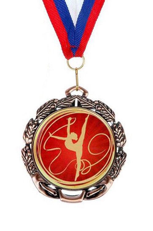 """Медаль 65 мм с лентой, цвет бронза """"Гимнастка с лентой"""""""