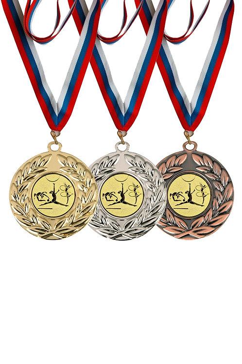 """Медаль 003 d-50мм, цвет серебро, с лентой и эмблемой """"Художественная гимнастика"""""""