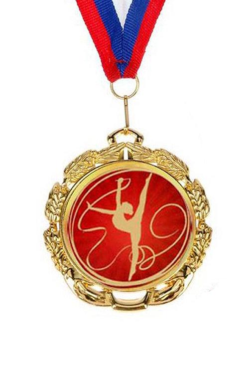 """Медаль с лентой, d-65мм, цвет золото, """"Гимнастка с лентой"""""""