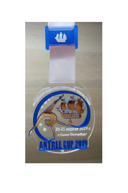 Медаль 65х75 мм с названием вашего турнира
