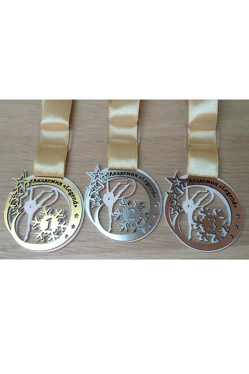 Медаль 65х67 мм, акрил, 2-слойная с гравировкой, с лентой, пряжко