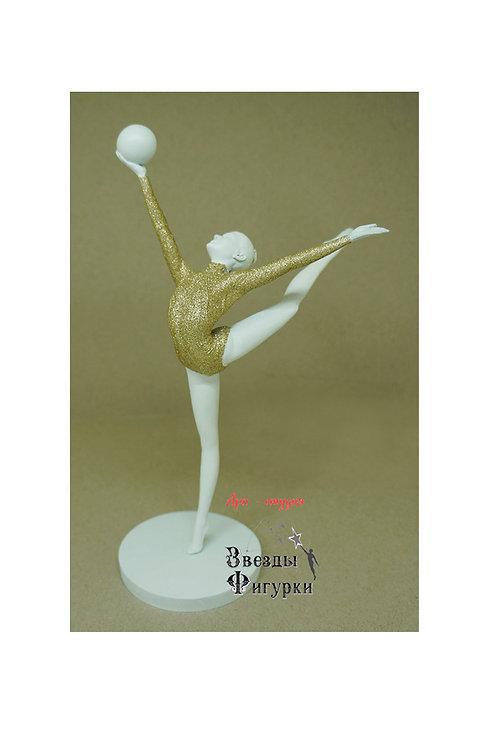 """Статуэтка """"Гимнастка с мячом"""", цвет белый+золотой с блёстками, 22 см"""