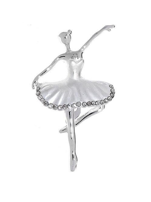 """Брошь """"В танце"""", цвет белый в серебре"""