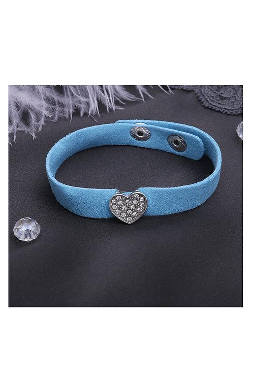 """Браслет кожа """"Замшевый стиль"""" сердце, цвет голубой в серебре"""