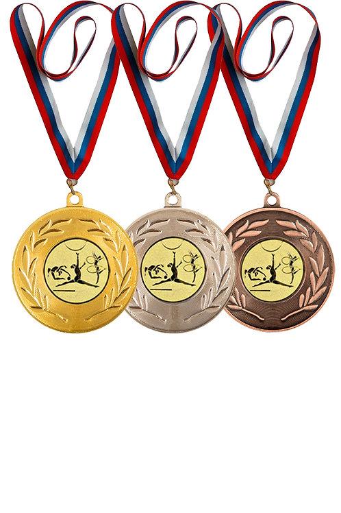 """Медаль 010, D-50мм, цвет бронза, с лентой, с эмб. """"Художественная гимнастика"""""""