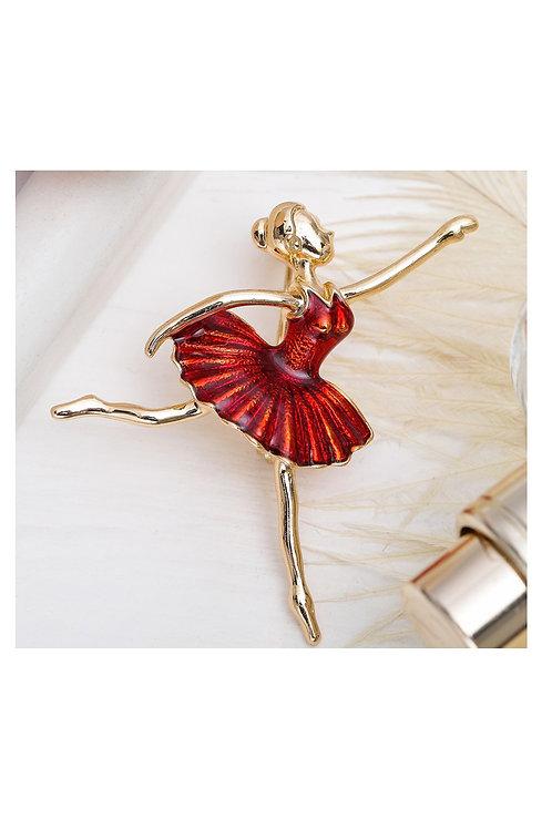 """Брошь """"Балерина"""" в танце, цвет красный в золоте"""