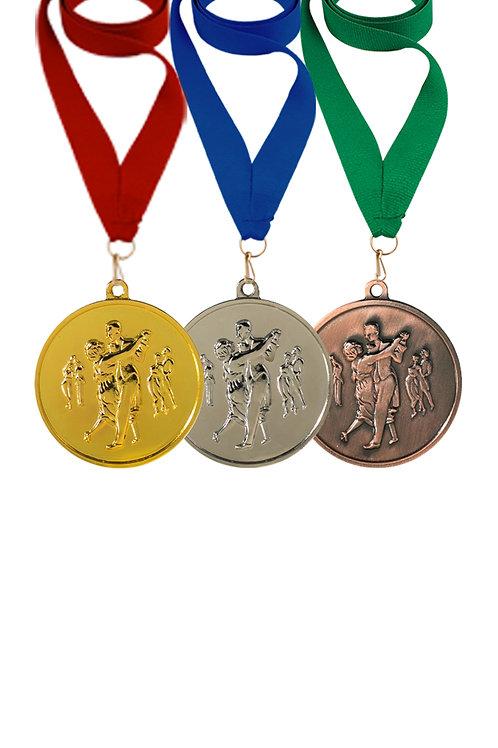 """Медаль """"Танец парный"""" 45 мм с лентой, золото"""