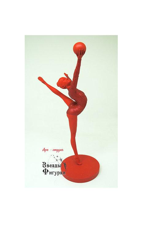 """Статуэтка """"Гимнастка с мячом"""", цвет красный с блёстками, 22 см"""