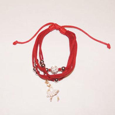 Браслет 5 нитей с шармом, цвет красный