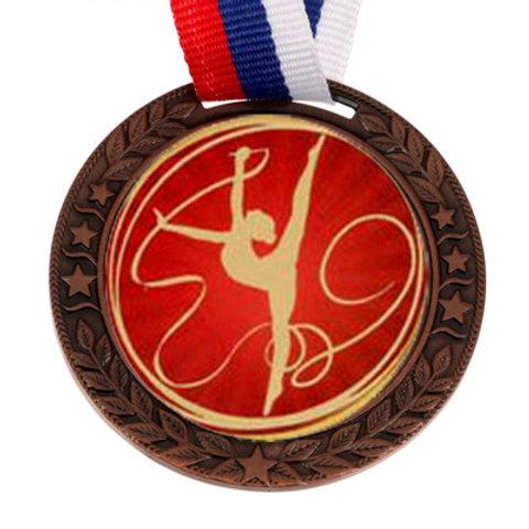 """Медаль с лентой, 50мм """"Художественная гимнастика"""" цвет бронза"""