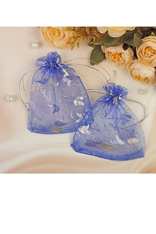 """Мешочек подарочный """"Тюльпаны"""", 10х12см, цвет синий с серебром"""