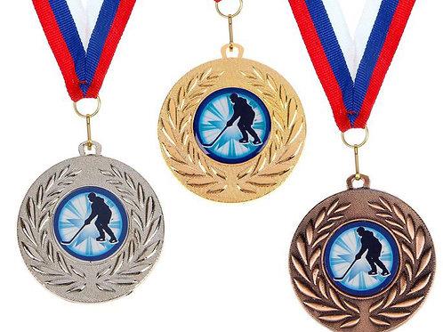 Медаль Хоккей С077 Диаметр 5 см. Металл.