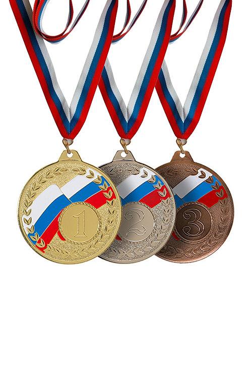 """Медаль 054 """"2 место"""", цвет серебра, d-50 мм, с лентой"""