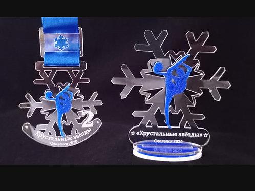 Медаль снежинка прозрачная 60х68 мм
