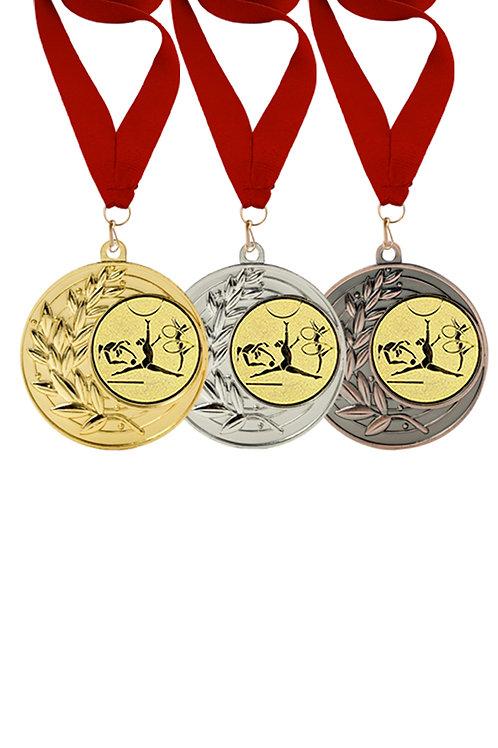 """Медаль 001, бронза, с лентой, с эмблемой """"Художественная гимнастика"""""""