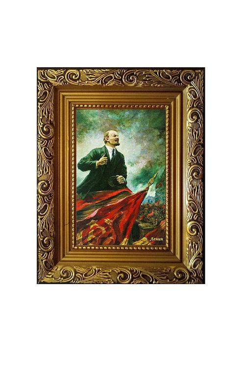 """Сувенир """"Картина на холсте """"Ленин на баррикаде"""""""