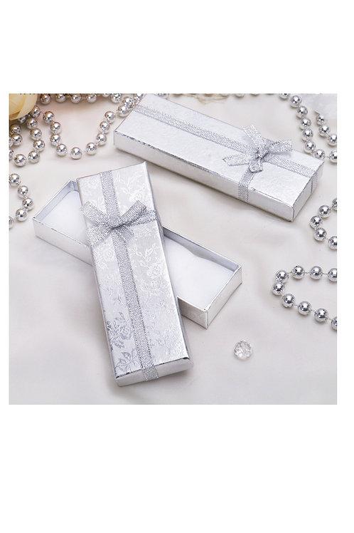 "Коробочка подарочная под цепочку/кулон/часы ""Слиток"" 12*4, цвет серебро"