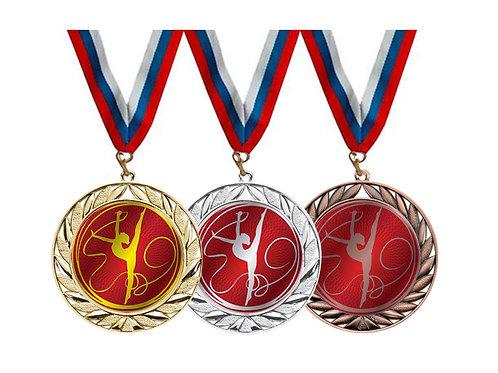 """Медаль 022, d-70мм, цвет бронзы, с лентой, с эмблемой """"Гимнастка с лентой"""""""