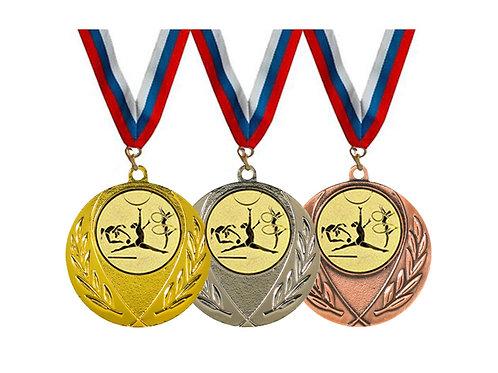 """Медаль 090, d-45мм, бронза, с лентой, с эмбл.""""Худож.гимнастика"""""""