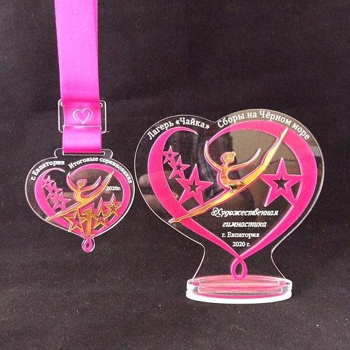 Медаль «Сердце» 70х70 мм,с лентой и нанесением текста