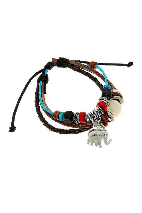 """Браслет кожа """"Хиппи"""" индийский слон, цвет коричнево-голубой"""