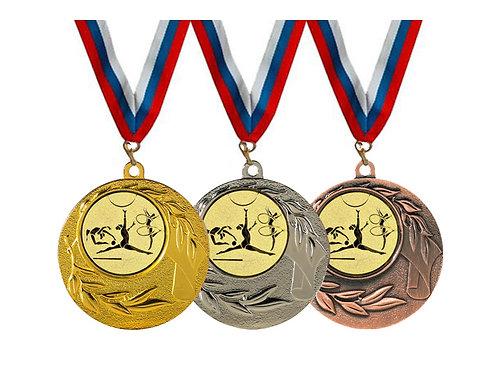 """Медаль 097, d-45 мм, цвет серебро, с лентой, с эмбл.""""Худож.гимнастика"""""""