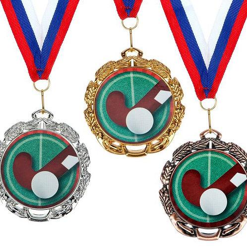 Медаль Хоккей на траве С053 Диаметр 6.5 см. Металл.