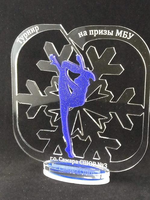 "Награда ""Снежинка"" прозрачная в квадрате, 150х140мм"