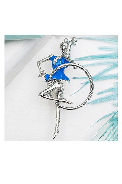 """Брошь """"Гимнастка"""" с обручем, 45 мм, цвет голубой в серебре"""