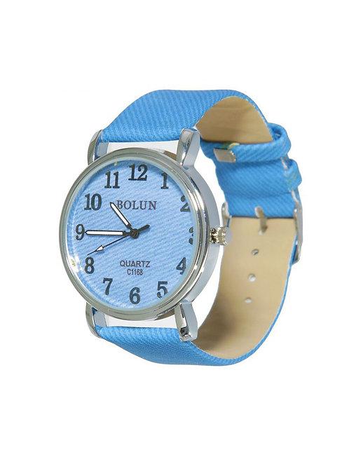 Часы наручные женские, синий циферблат, ремешок синий