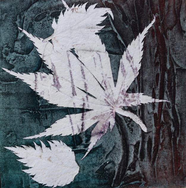 Maple leaf, collograph and monoprint