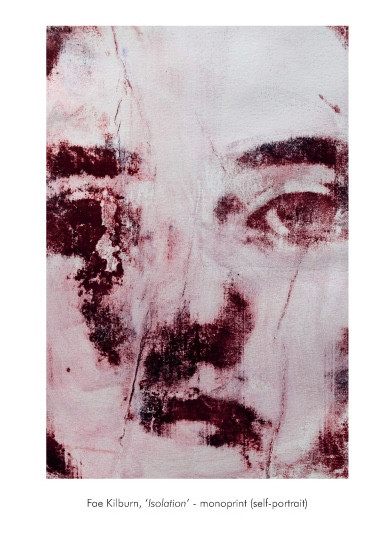 self portrait,  a mono print my face takes up the whole page