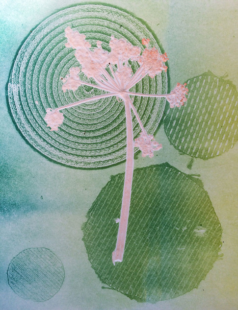 Spring Days, embossed monoprint