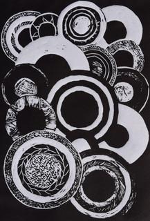 Circles in my Sight, Linocut.