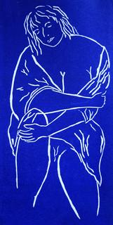 The Sitting, Linocut by Fae Kilburn.