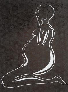 Longing, Linocut by Fae Kilburn.