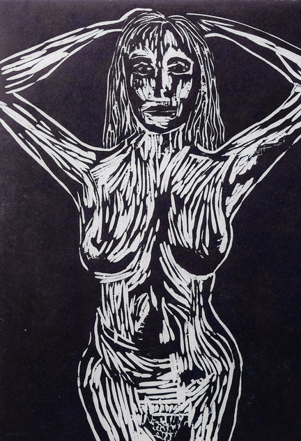 The Struggle, Woodcut print.