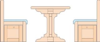 In unseren Wohnungen haben Sie die Möglichkeit eine Tisch-Bett-Kobination zu nutzen. Hier sehen Sie  die Tisch-Variante.