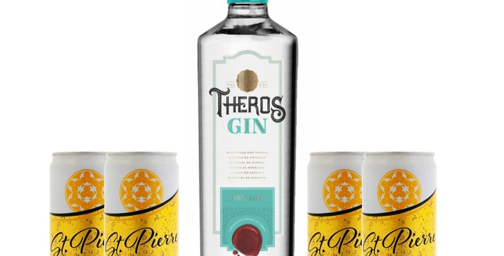 Combo Gin Theros + 4 Ginger Tonic St Pierre