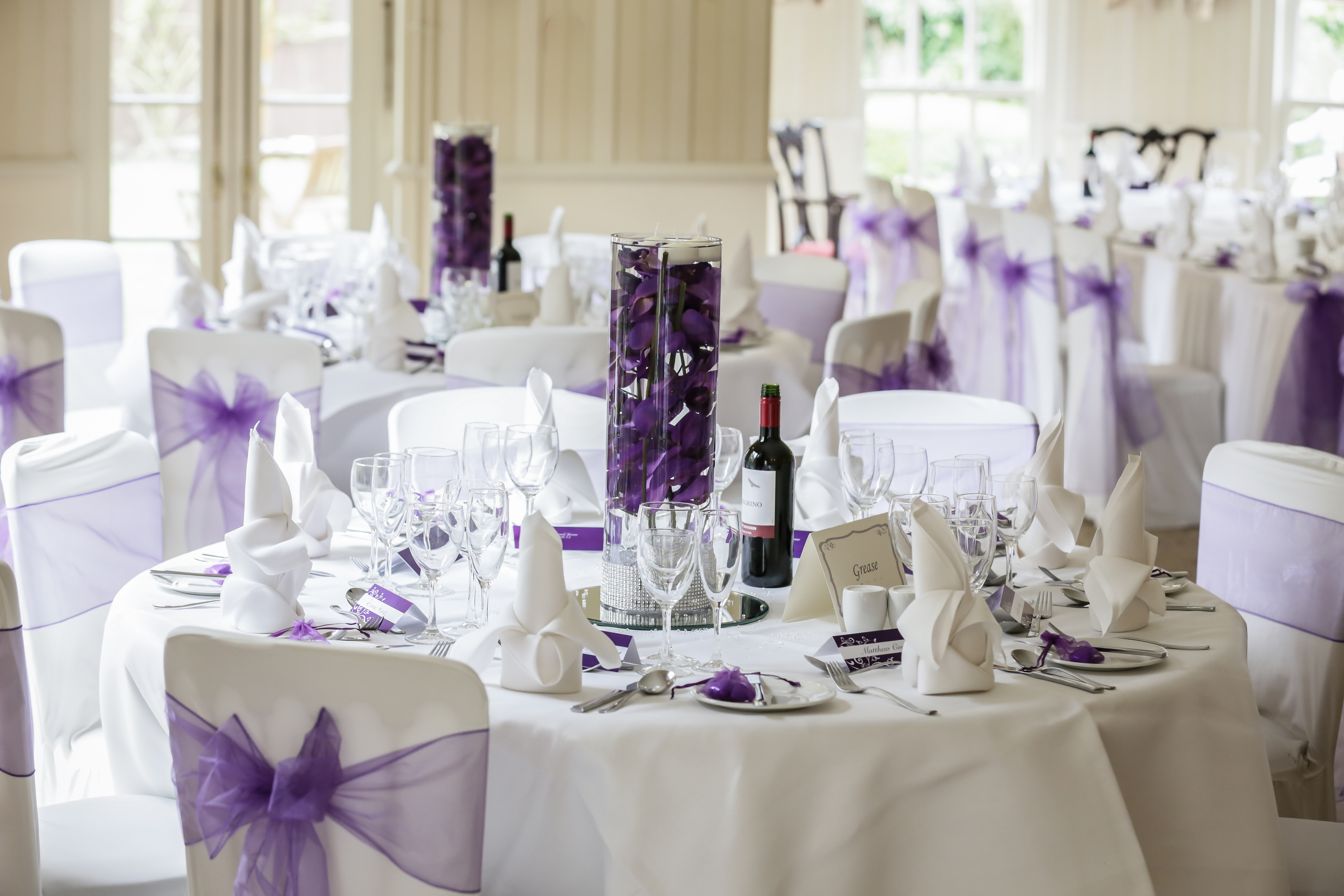 Cylinder vase and chair covers
