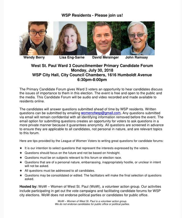 West St. Paul Ward 3 City Council Candidate Forum Flyer