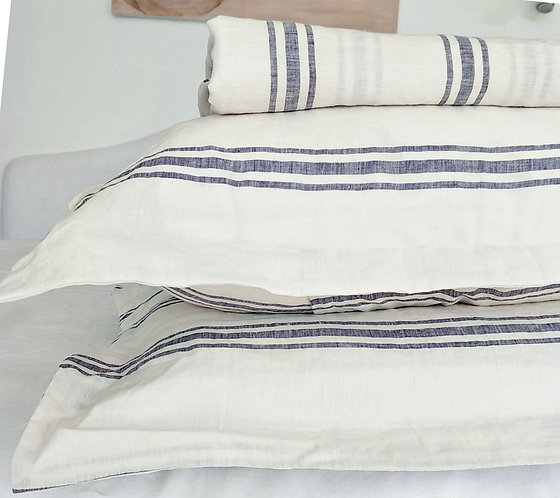 Pure French Linen Yarn Dyed Striped Duvet Cover Quilt Cover Set - Chios