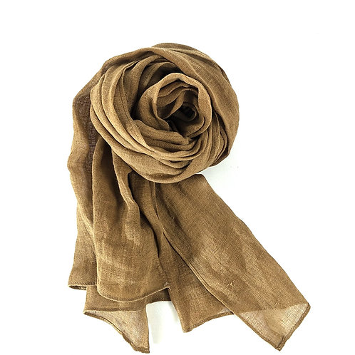Pure French Linen Hand-woven Long Scarves - Earth