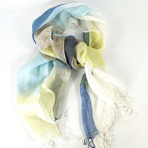 Yarn Dyed French Linen Scarf with Hand Kotted Edge - Harper