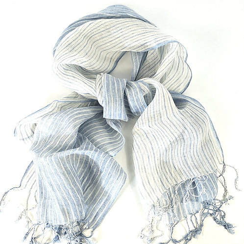 Yarn Dyed French Linen Scarf with Hand Kotted Edge - Isabella