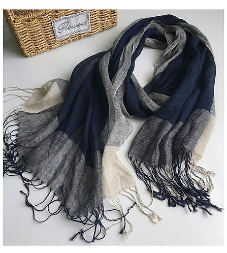 Pure French Linen Hand-woven Long Scarves - Navy White Check