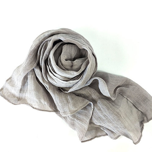 Pure French Linen Hand-woven Long Scarves - Mushroom
