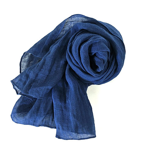 Pure French Linen Hand-woven Long Scarves - Indigo