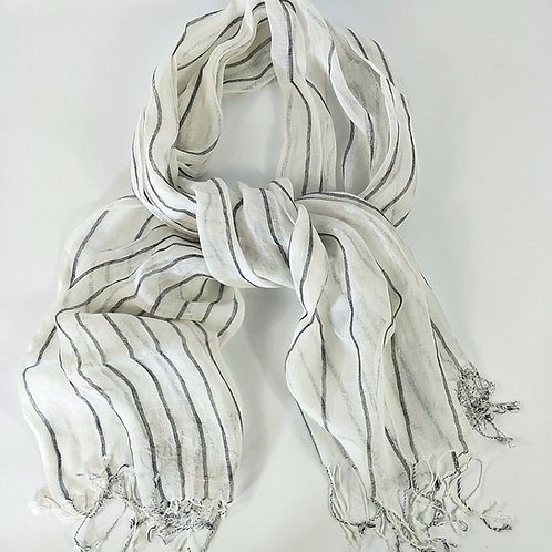 Yarn Dyed French Linen Scarf with Hand Kotted Edge - Alex